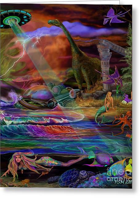 Angel Mermaids Ocean Greeting Cards - Where the Mermaids Meet Greeting Card by Frances McCloskey