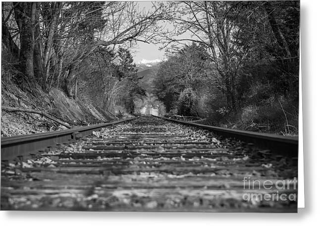 Black And White Train Track Prints Greeting Cards - Where the Railroad Leads Greeting Card by Lucid Mood