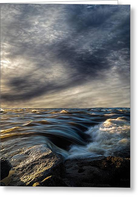 Ocean Landscape Greeting Cards - Where The River Kisses The Sea Greeting Card by Bob Orsillo