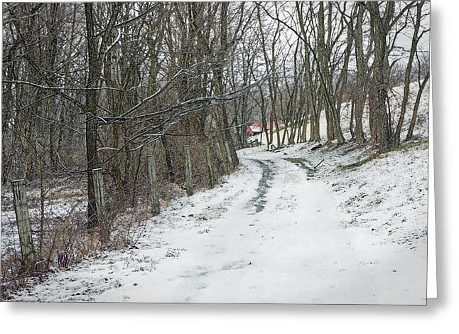 Bucolic Scenes Digital Art Greeting Cards - Where the road may take you Greeting Card by Photographic Arts And Design Studio