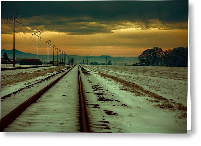Snowy Field Greeting Cards - Where the Tracks Lead Greeting Card by Bonnie Bruno