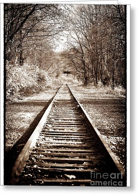 Where Greeting Cards - Where the Tracks Lead Greeting Card by John Rizzuto
