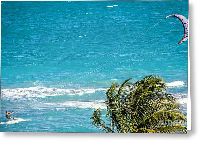 Kite Surfing Greeting Cards - Where the Wind Takes Me Greeting Card by Rene Triay Photography