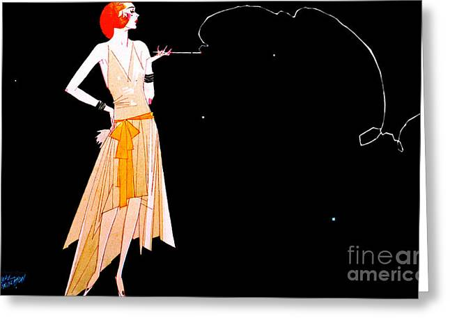 Cigarette Holder Greeting Cards - Where Theres Smoke 1920 Greeting Card by Padre Art