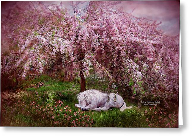 Pink Blossoms Greeting Cards - Where Unicorns Dream Greeting Card by Carol Cavalaris