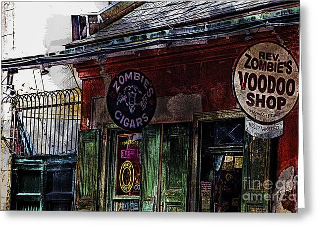 Voodoo Shop Greeting Cards - Where Zombies meets Voodoo  Greeting Card by Douglas Barnard
