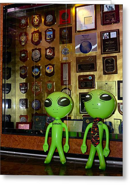 Carnival Dream Greeting Cards - Wheres the Award for Alien Hospitality Greeting Card by Richard Henne