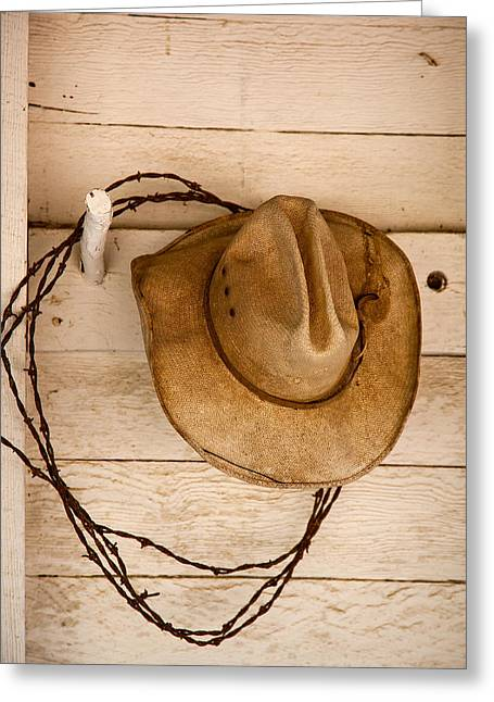 Ranch Greeting Cards - Wherever I Lay My Hat Greeting Card by Peter Tellone