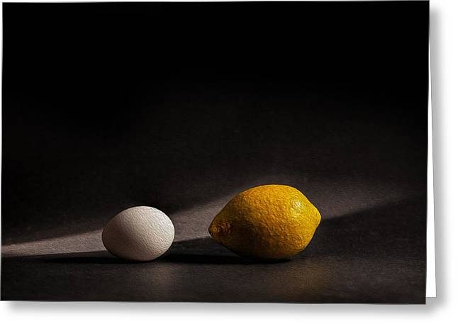 Lemon Art Greeting Cards - Which Came First Greeting Card by Peter Tellone