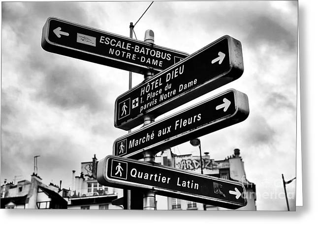 Which Way In Paris Greeting Card by John Rizzuto