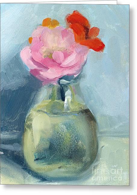 Water Jars Paintings Greeting Cards - Whidbey Flowers Greeting Card by Jayne Morgan
