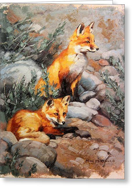 Fox Kit Paintings Greeting Cards - While Mommas Out Greeting Card by Mark McKenna