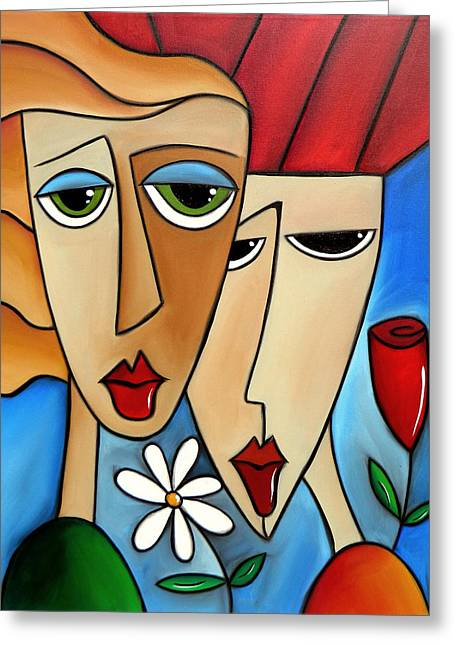 Picasso Mixed Media Greeting Cards - While Were Young Greeting Card by Tom Fedro - Fidostudio