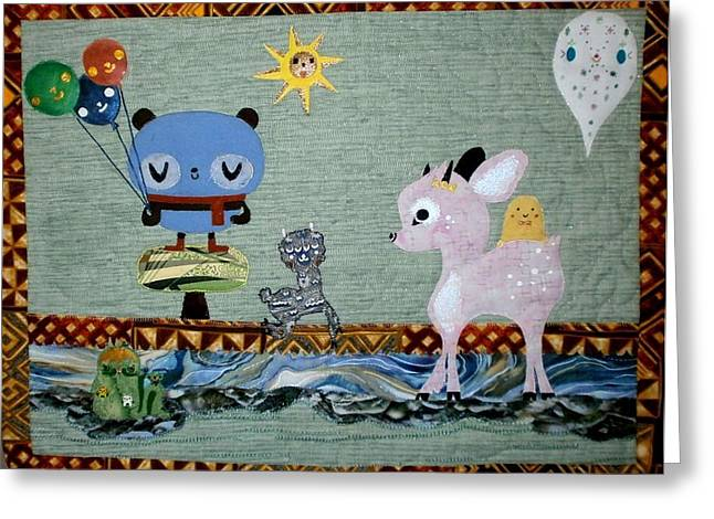 Wall Hanging Quilt Tapestries - Textiles Greeting Cards - Whimsey Greeting Card by Linda Egland