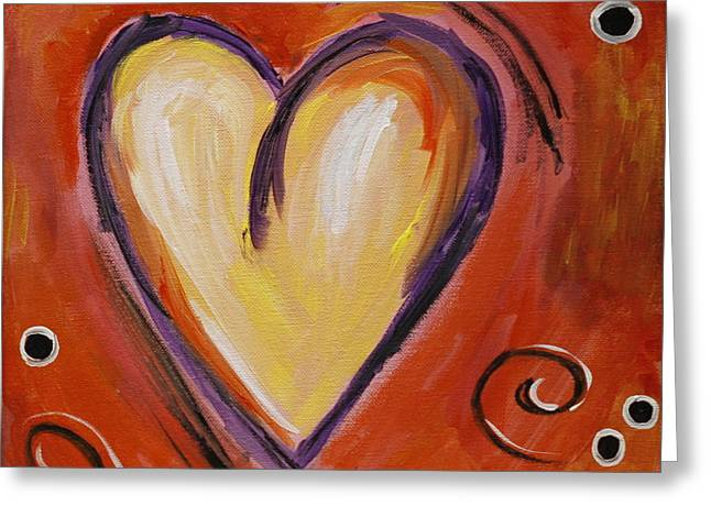 Flirtatious Greeting Cards - Whimsical  Abstract Art - With All My Heart Greeting Card by Karyn Robinson