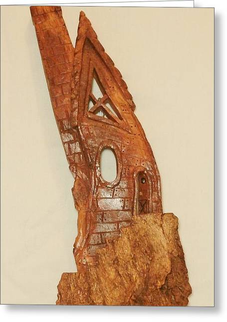 Wood Carving Sculptures Greeting Cards - Whimsical Bark House IIII Greeting Card by Russell Ellingsworth