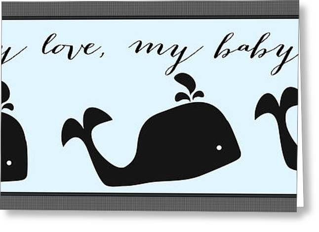 My Ocean Greeting Cards - Whimsical Blue Whale Greeting Card by Legend Imaging