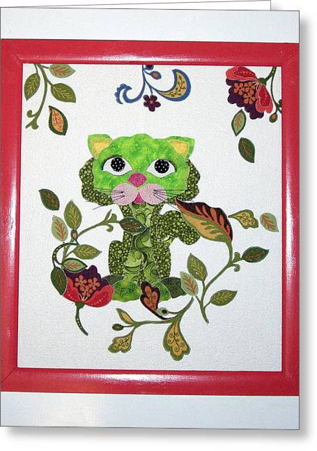 Fabric Quilt Tapestries - Textiles Greeting Cards - Whimsical Broc Kat Greeting Card by Frederic Kohli