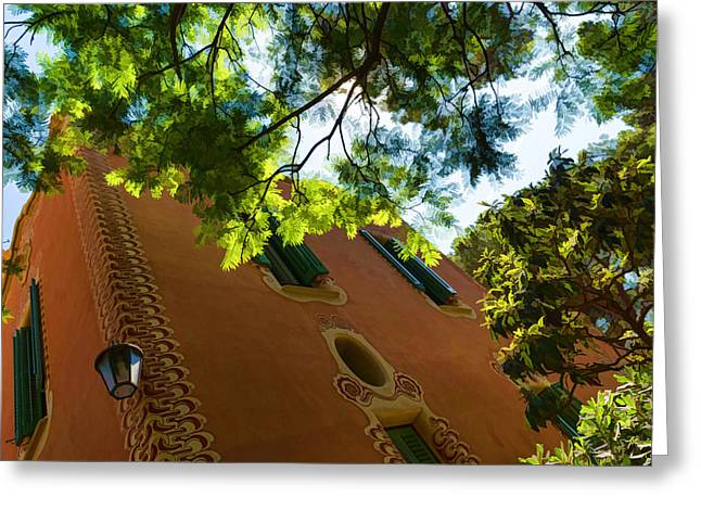 Fascinated Digital Art Greeting Cards - Whimsical Building Through the Trees - Impressions Of Barcelona Greeting Card by Georgia Mizuleva