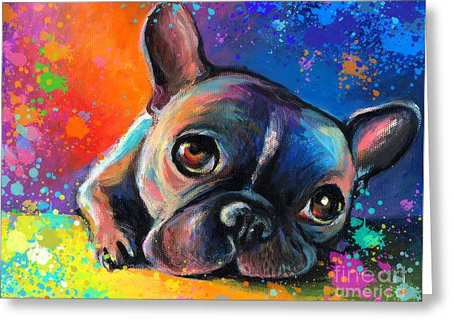 Acrylic Greeting Cards - Whimsical Colorful French Bulldog  Greeting Card by Svetlana Novikova
