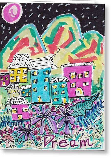Dream Scape Greeting Cards - Whimsical Dream Greeting Card by Rosalina Bojadschijew