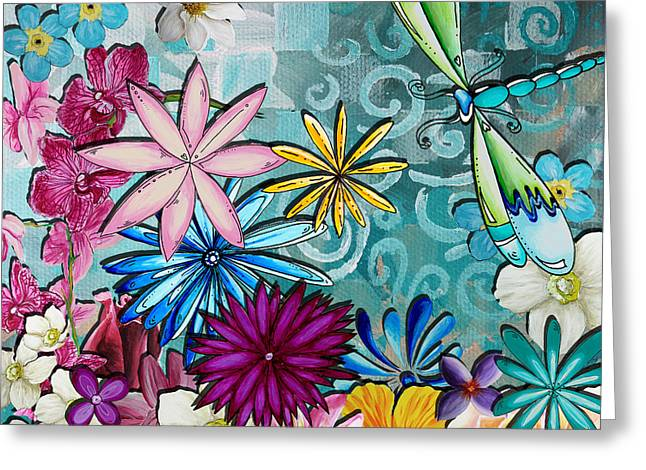Unique Art Greeting Cards - Whimsical Floral Flowers Dragonfly Art Colorful Uplifting Painting by Megan Duncanson Greeting Card by Megan Duncanson