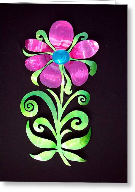 Garden Sculptures Greeting Cards - Whimsical Flower Greeting Card by Diane Snider