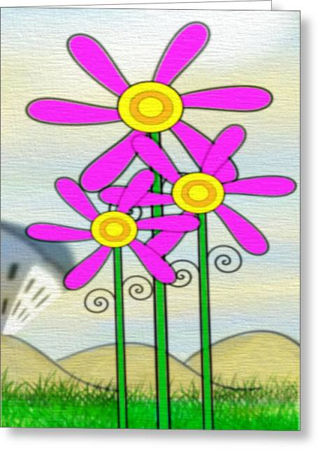 Manley Greeting Cards - Whimsical Flowers Greeting Card by Gina Lee Manley