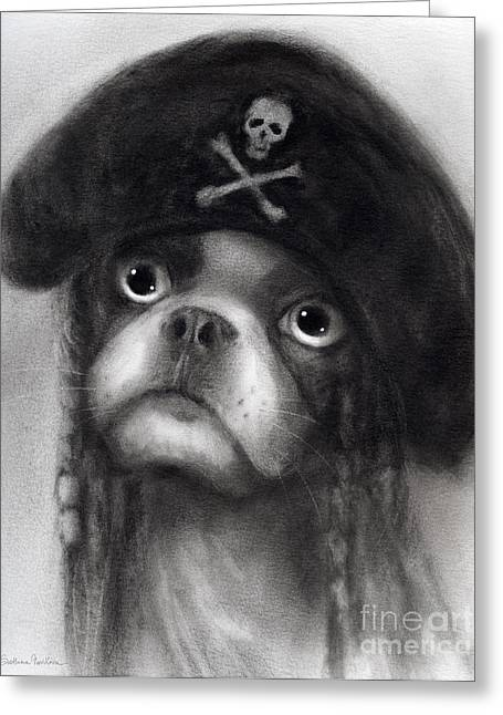 Funny Greeting Cards - Whimsical Funny French Bulldog Pirate  Greeting Card by Svetlana Novikova