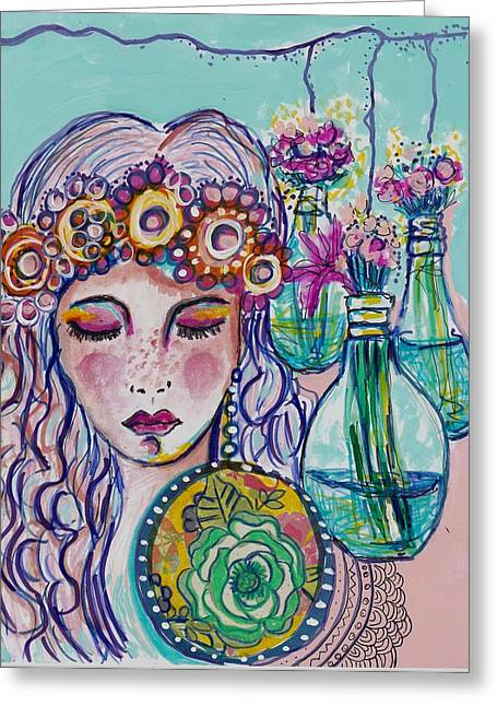 Floating Girl Greeting Cards - Whimsical Hippie Girl Greeting Card by Rosalina Bojadschijew