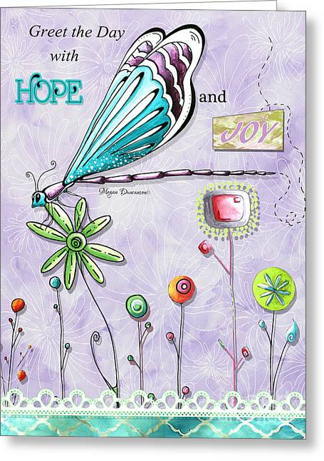 Whimsical Inspirational Dragonfly And Flower Art Inspiring Quote By Megan Duncanson Greeting Card by Megan Duncanson