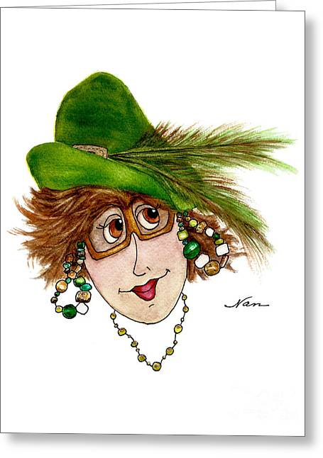 Whimsical Lady In Green Hat And Copper Sunglasses Greeting Card by Nan Wright