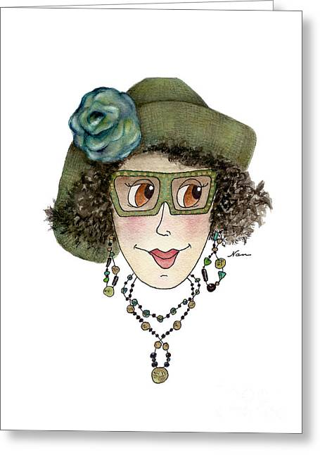 Whimsical Lady In Green Straw Hat And Blue Flower Greeting Card by Nan Wright