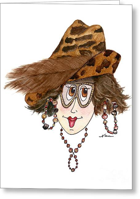 Whimsical Lady In Leopard Hat And Feather Greeting Card by Nan Wright