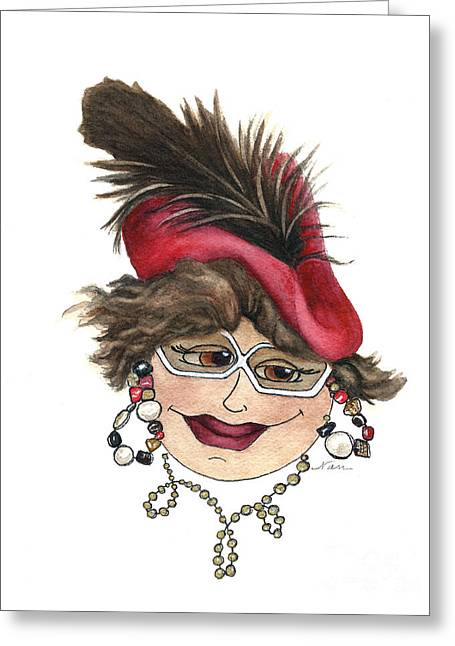 Whimsical Lady In Red Hat Greeting Card by Nan Wright