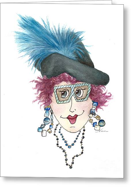 Whimsical Lady With Purple Hair Greeting Card by Nan Wright