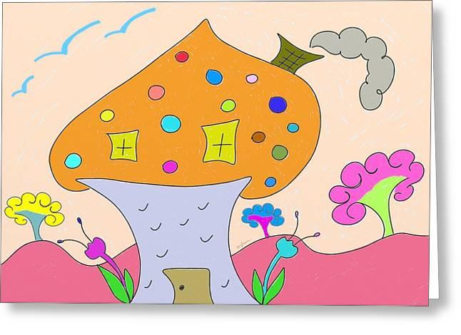 Gleem Greeting Cards - Whimsical Mushroom Tree House  Greeting Card by Gina Lee Manley
