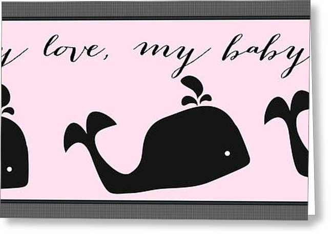 My Ocean Greeting Cards - Whimsical Pink Whale Greeting Card by Legend Imaging