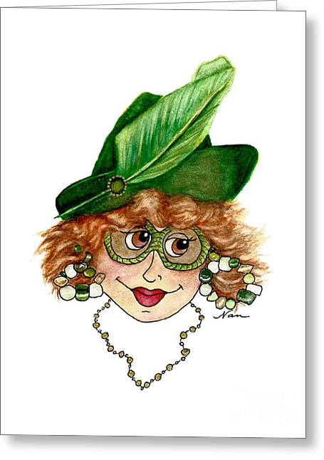 Whimsical Red Head Lady In Green Greeting Card by Nan Wright