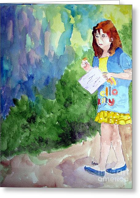 Jeunes Filles Greeting Cards - A Walk in the Woods Greeting Card by Sandy McIntire