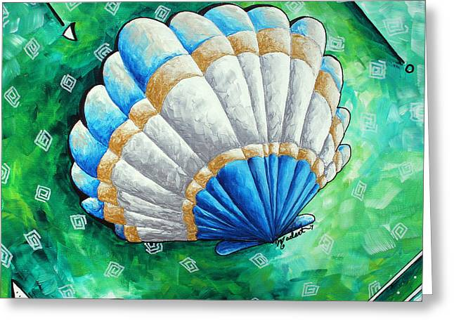 Unique Art Greeting Cards - Whimsical Sea Scallop Shell Original Painting by Megan Duncanson Greeting Card by Megan Duncanson