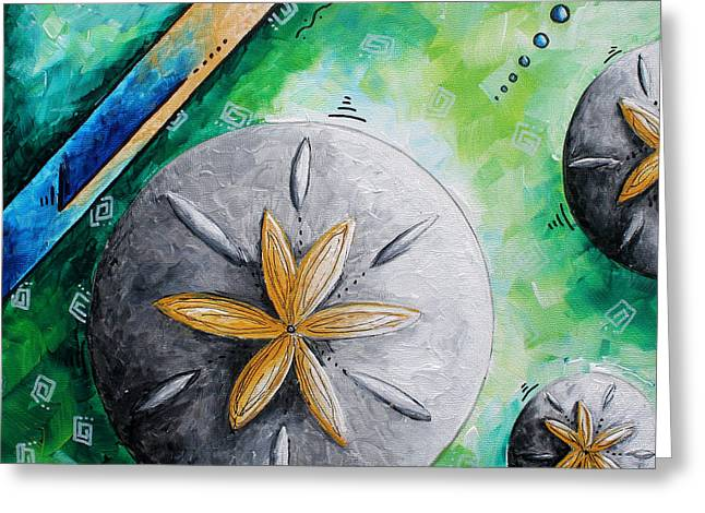 Sand Patterns Greeting Cards - Whimsical Seashell Sand Dollar Original Painting by Megan Duncanson Greeting Card by Megan Duncanson
