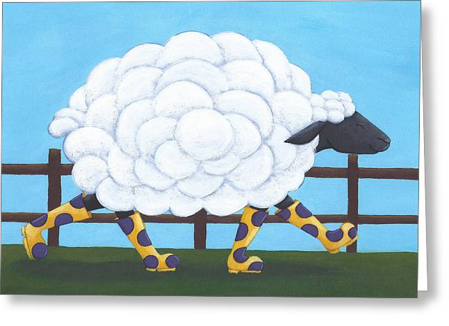 Sheep Paintings Greeting Cards - Whimsical Sheep Art Greeting Card by Christy Beckwith
