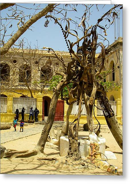 Geobob Greeting Cards - Whimsical Statuary in City Hall Plaza and Found Art Ile de Goree Dakar Senegal West Africa Greeting Card by Robert Ford
