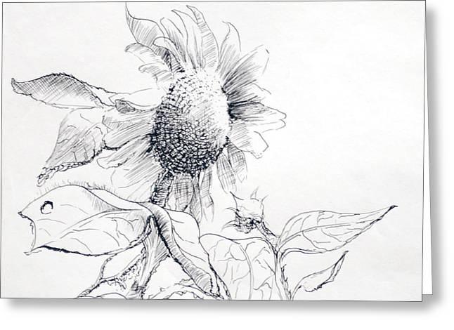 James Skiles Greeting Cards - Whimsical Sunflower  Greeting Card by James Skiles