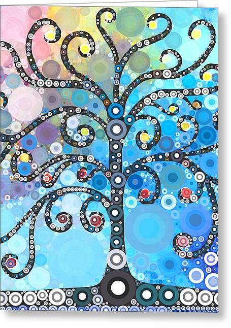 Bobble Prints Greeting Cards - Whimsical Tree Greeting Card by Linda Bailey