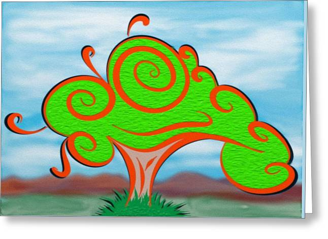 Manley Greeting Cards - Whimsical Tree on Blurred Landscape Greeting Card by Gina Lee Manley