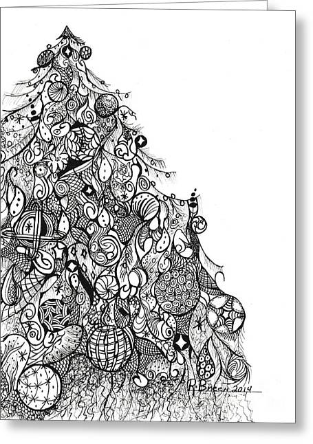 Organic Drawings Greeting Cards - Whimsical Tree Greeting Card by Ronda Breen