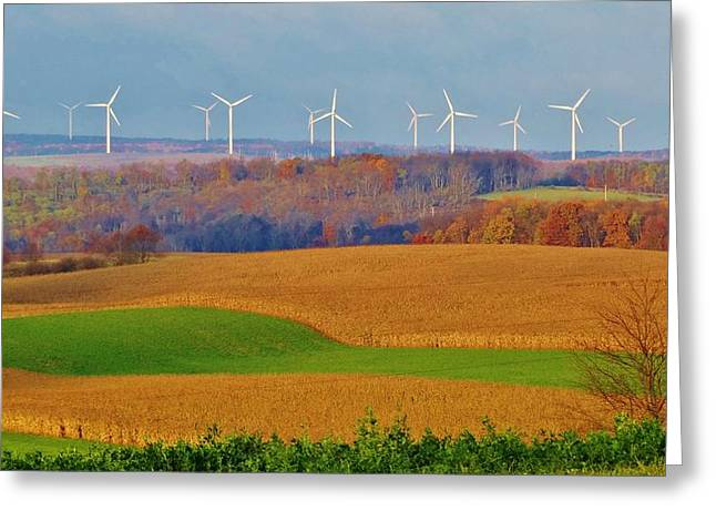 Cornfield Mixed Media Greeting Cards - Whimsical Windmills Greeting Card by Sherry Brant