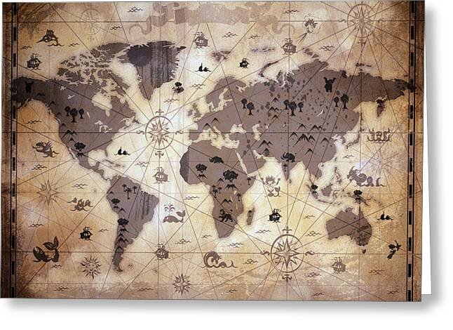 Old World Mixed Media Greeting Cards - Whimsical World Map 1 Greeting Card by Angelina Vick